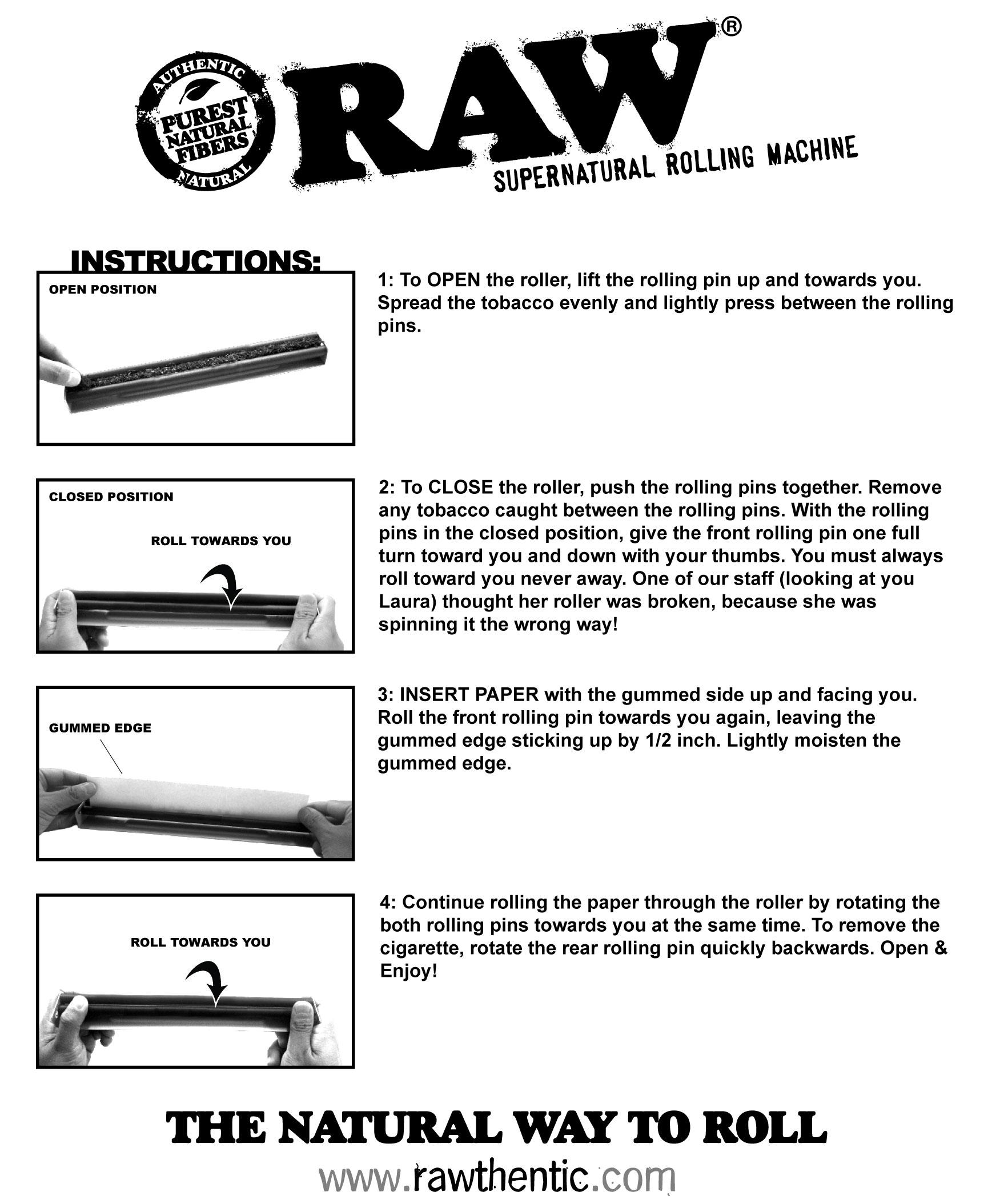 RAW Supernatural Roller Instructions